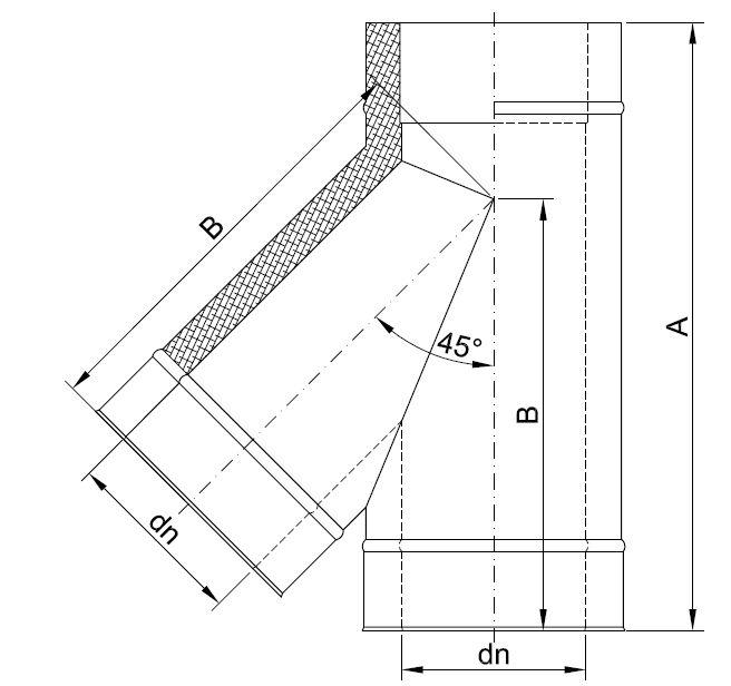 edelstahl schornstein dw feuerungsanschluss t st ck 45 90. Black Bedroom Furniture Sets. Home Design Ideas