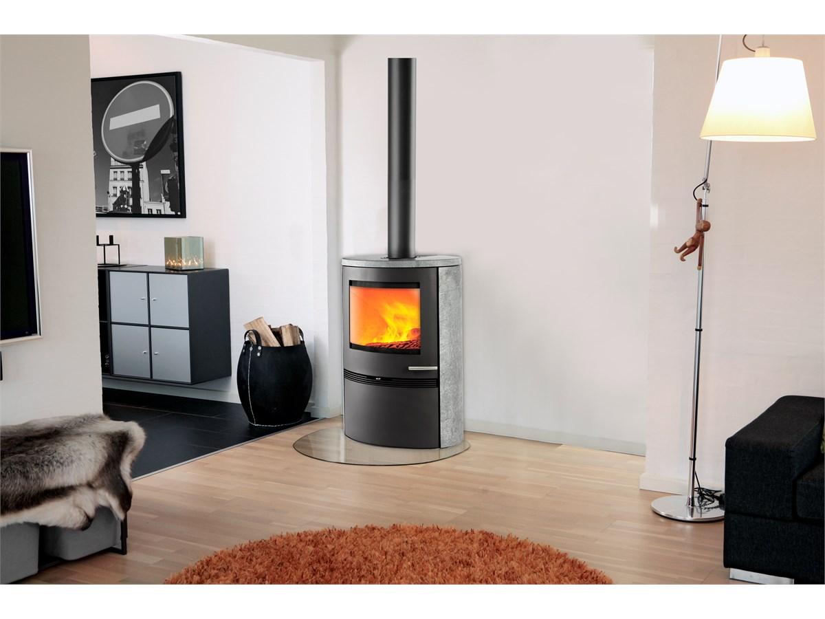 kaminofen termatech tt22hs stahl runde seiten mit speckstein 7 5 kw schwarz oder ebay. Black Bedroom Furniture Sets. Home Design Ideas