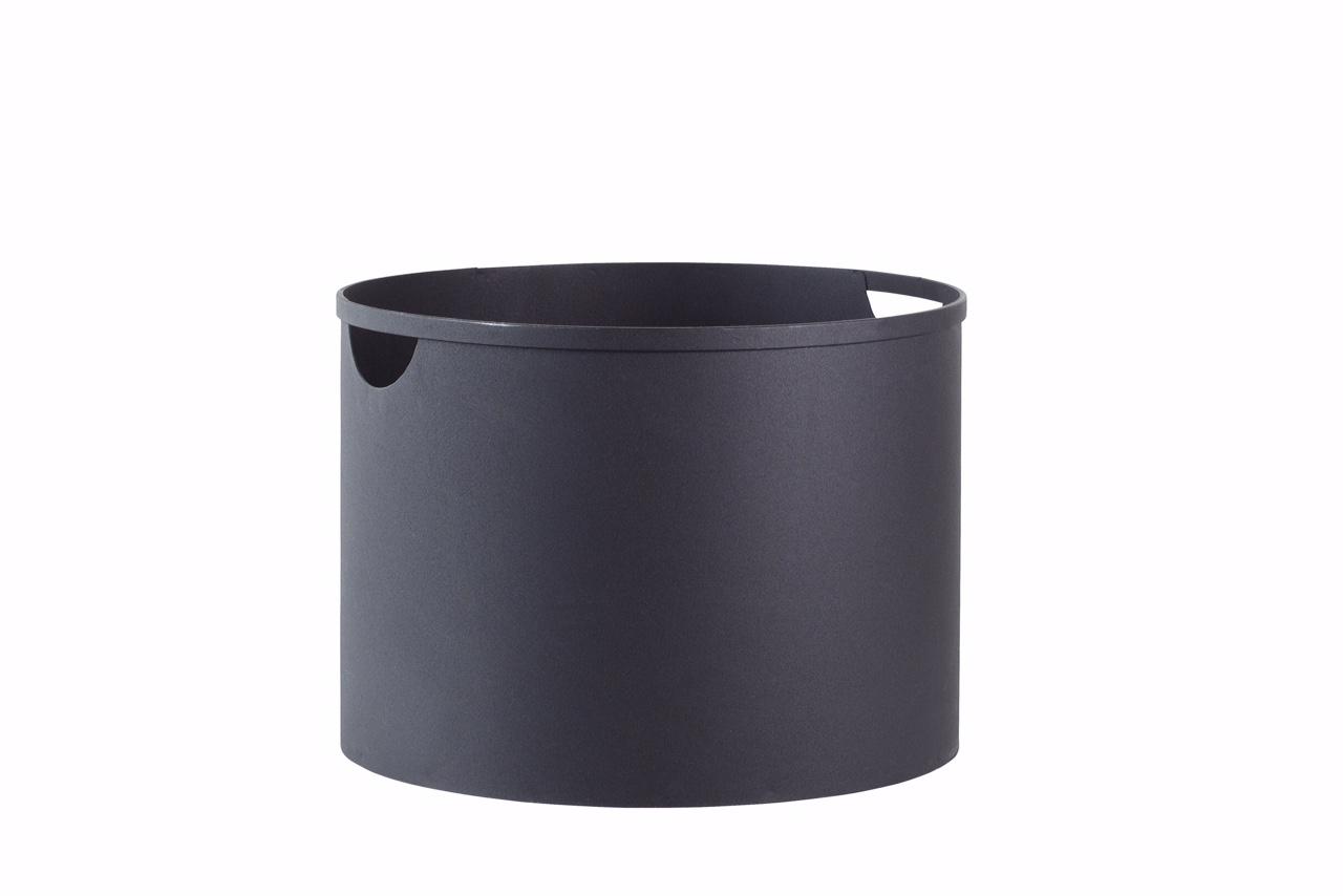 holzkorb f r kaminholz eimer aus stahl in schwarz modern. Black Bedroom Furniture Sets. Home Design Ideas