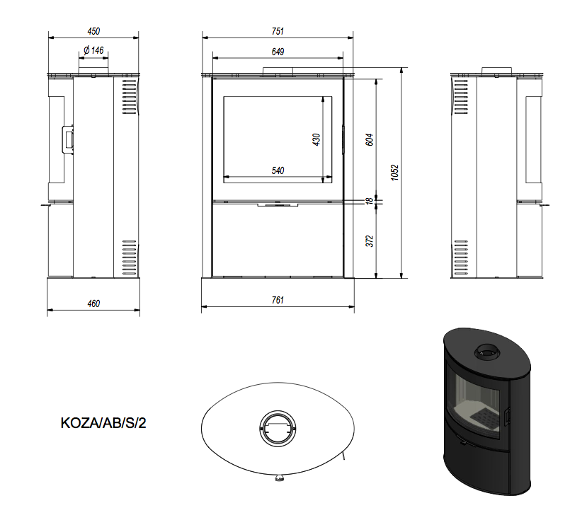 kaminofen kratki koza ab s 2 stahl schwarz 10 kw. Black Bedroom Furniture Sets. Home Design Ideas