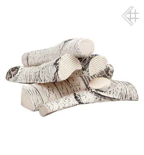 keramik holzscheite deko birke 5 st. für bio ethanol kamine,